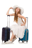 The woman in travelling concept on white Stock Photo