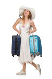 The woman in travelling concept on white Royalty Free Stock Photo