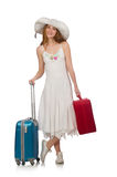 The woman in travelling concept on white Royalty Free Stock Images