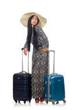 The woman in travelling concept on white Stock Photography