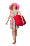 The woman in travelling concept on white Royalty Free Stock Image