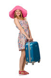 The woman in travelling concept on white Stock Image