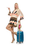 The woman in travelling concept on white. Woman in travelling concept on white Royalty Free Stock Image