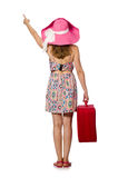 Woman in travelling concept on white. The woman in travelling concept on white Royalty Free Stock Photography