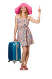 Woman in travelling concept on white. The woman in travelling concept on white Royalty Free Stock Photos