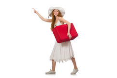 Woman in travelling concept on white Royalty Free Stock Photo
