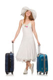 Woman in travelling concept on white Royalty Free Stock Image