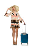 Woman in travelling concept on white Stock Photo