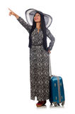 Woman in travelling concept on white Stock Photos