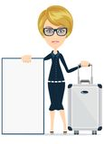 Woman travelling and having, with a poster. Royalty Free Stock Image