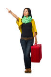 Woman travelling isolated on white Royalty Free Stock Images