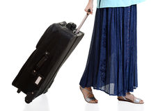 Woman travelling with luggage concept Stock Photo