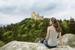 Woman is travelling to Europe Royalty Free Stock Photography