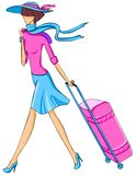Woman  travels with  a suitcase Stock Photos