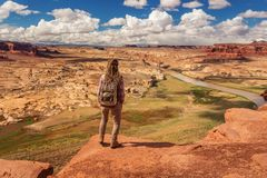 Woman travels to America on the Colorado river observation deck.  stock photos