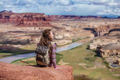 Woman travels to America on the Colorado river observation deck stock photos