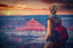Woman travels to the Grand Canyon Royalty Free Stock Photo