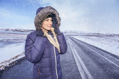 Woman travels to Iceland Stock Photos