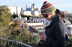Woman travels to Madrid Royalty Free Stock Photography