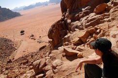 Woman travels in Wadi Rum Royalty Free Stock Photography