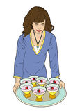 Woman with a tray. Woman serving food on a tray Vector Illustration
