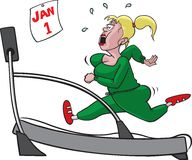 Woman on treadmill. Cartoon Woman trying to lose some holiday weight on a treadmill. Vector and high resolution jpeg files available Stock Image