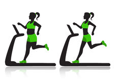 Woman on a treadmill resets overweight. Silhouette of a woman on a treadmill before and after she lost weight Stock Photos