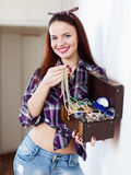 Woman with treasure chest Royalty Free Stock Photo