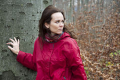 Woman by a tree Royalty Free Stock Photography