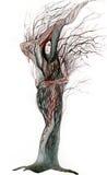 Woman tree. Beautiful woman visible inside tree royalty free illustration