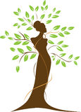 Woman and tree. Illustration of a female silhouette forming a tree trunk,  with branches and green leaves Royalty Free Stock Photo