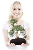 Woman with tree Stock Photos