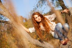 Woman On Tree - Autumn Lifestyle Royalty Free Stock Photography