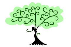 Woman Tree with hands stock photos