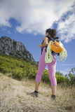 Woman trekker Stock Images