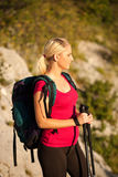 Woman on trekking Royalty Free Stock Photography