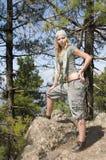 Woman in trekking in the field Stock Photo