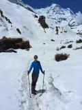 Woman trekking in Himalaya mountains, Nepal Stock Images