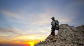 Woman trekking in mountains Royalty Free Stock Photography