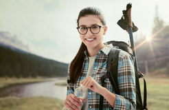 Woman trekking outdoors Royalty Free Stock Images