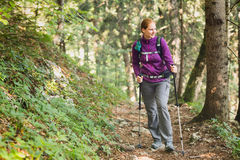 Woman on a Trekking Trip Stock Image