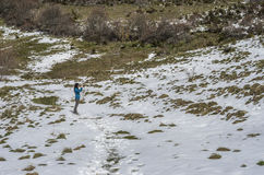 Woman trekking in winter mountains. Stock Images