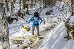 Woman trekking in winter mountains. Royalty Free Stock Images