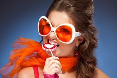Woman with trendy glasses Stock Photos