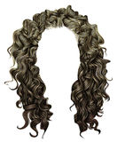 Woman trendy long curly brunette hairs wig brown  . retro style . Royalty Free Stock Photos