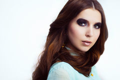 Woman with trendy smokey eyes makeup Royalty Free Stock Photo