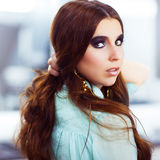 Woman with trendy smokey eyes makeup Stock Photos