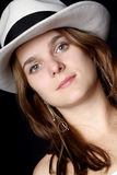 Woman with trendy white hat Royalty Free Stock Photos