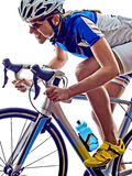Woman triathlon ironman athlete cyclist cycling Royalty Free Stock Images