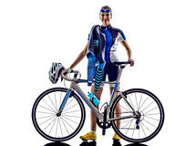 Woman triathlon ironman athlete cyclist cycling Stock Photo